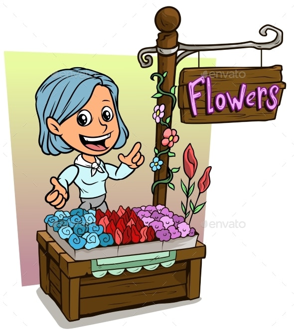 Cartoon Girl Character and Wooden Flowers Shop - People Characters