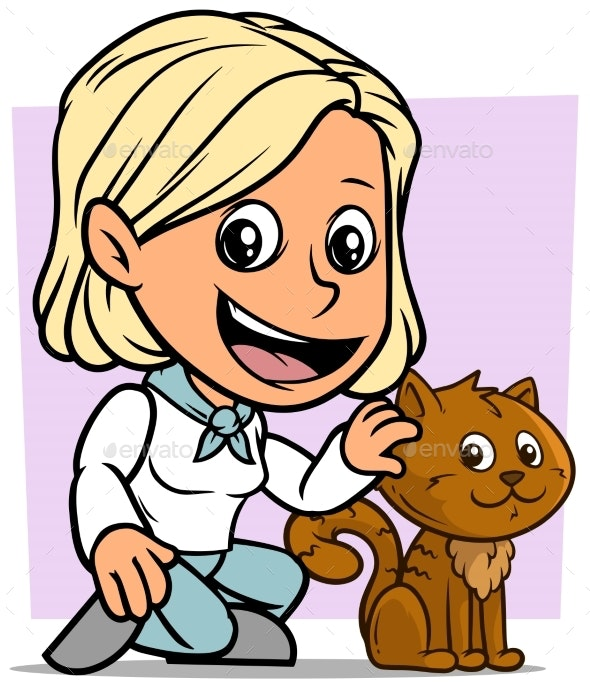 Cartoon Girl Character with Brown Cat - People Characters