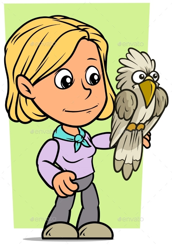 Cartoon Girl Character with Parrot - People Characters