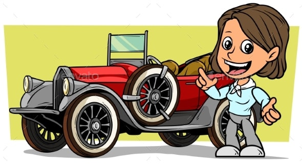 Cartoon Girl Character with Retro Convertible Car - People Characters
