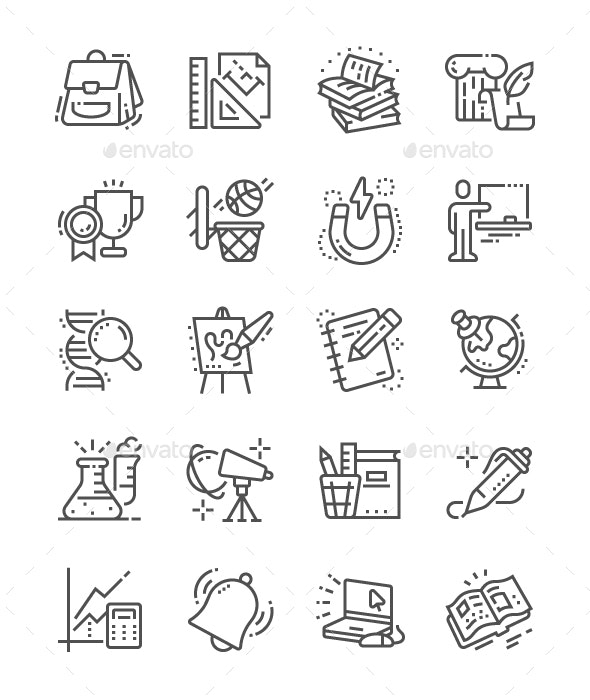 School Subjects Line Icons - Miscellaneous Characters