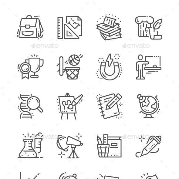 School Subjects Line Icons
