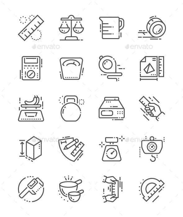 Measure Line Icons - Technology Icons