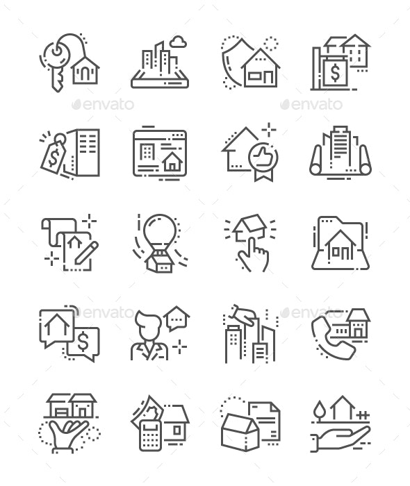 Real Estate Line Icons - Buildings Objects