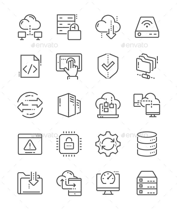 Hosting Line Icons - Business Icons