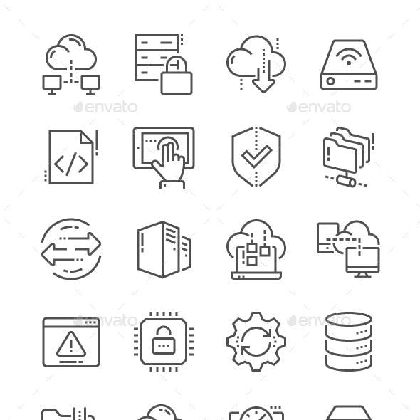 Hosting Line Icons