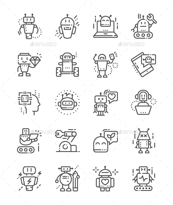 Robots Line Icons - Technology Icons
