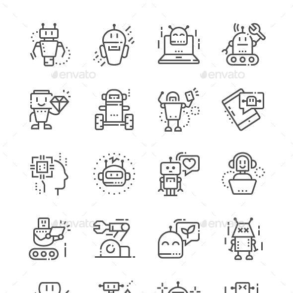 Robots Line Icons