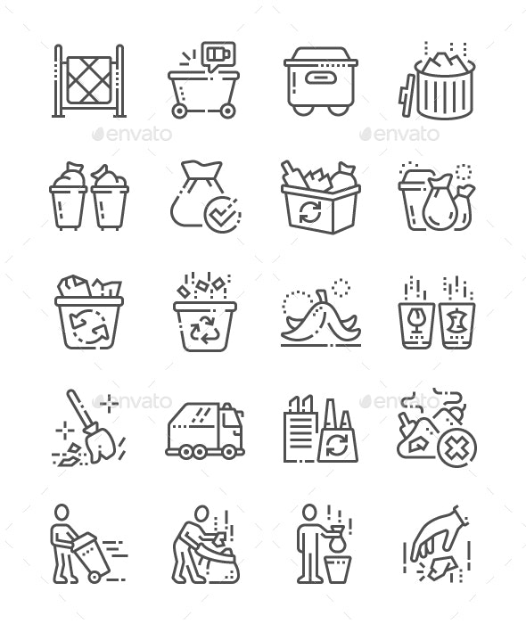 Garbage Line Icons - Miscellaneous Characters