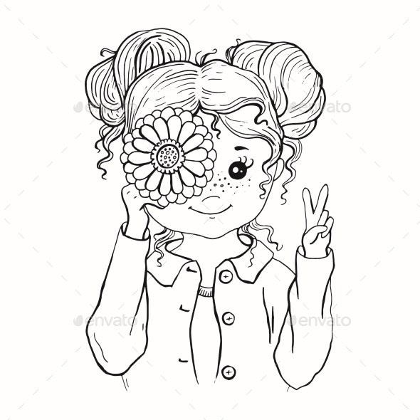 Black and White Graphic Contour Drawn Girl - People Characters