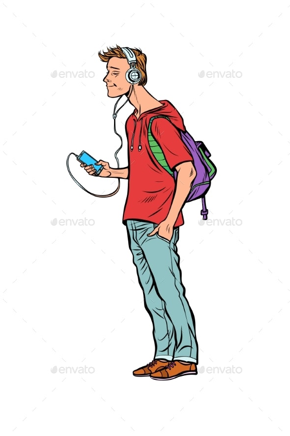 Young Man with Headphones and Smartphone - People Characters