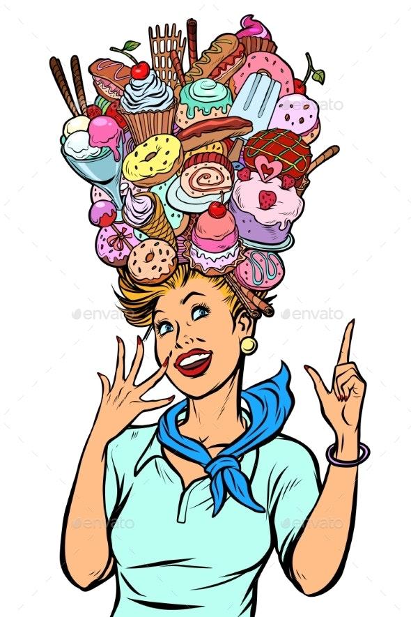 Stewardess Woman Dreams of Sweet - Food Objects