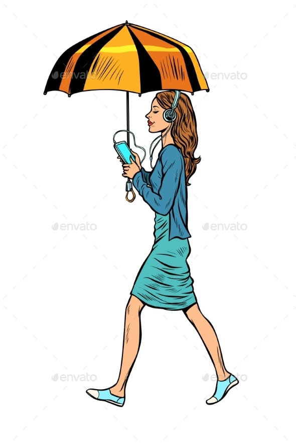 Woman with Smartphone and Umbrella - People Characters