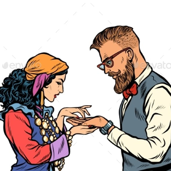 Gypsy Palmist and Hipster