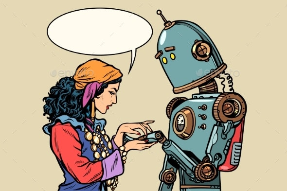 Gypsy Fortune Teller and Robot - Religion Conceptual