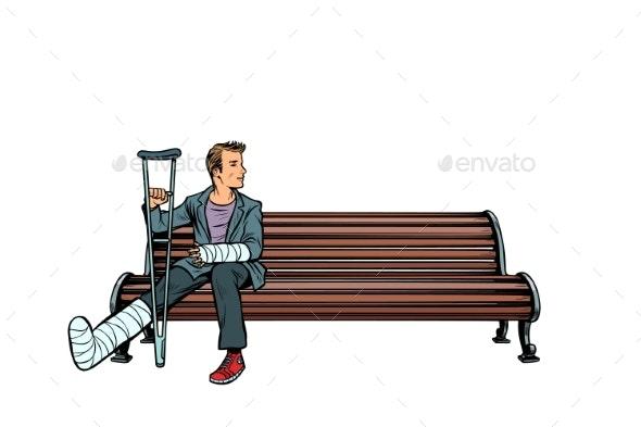 Man Broken Leg Park Bench - Health/Medicine Conceptual