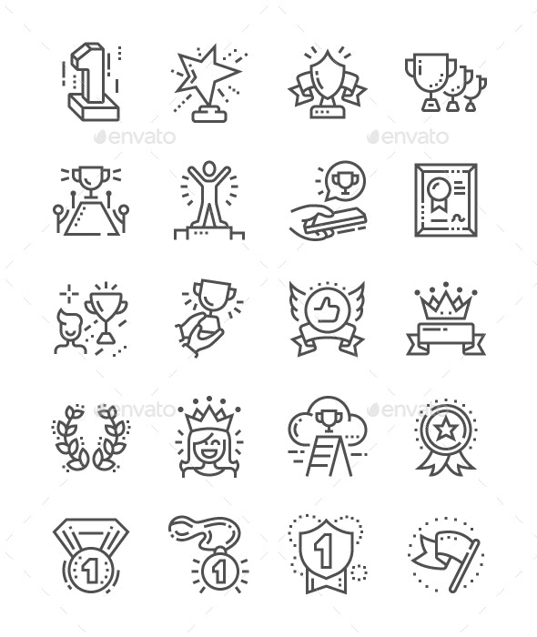 Awards Line Icons - Business Icons