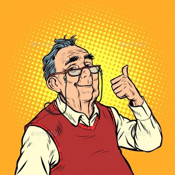Joyful Elderly Man with Glasses Thumb Up Like