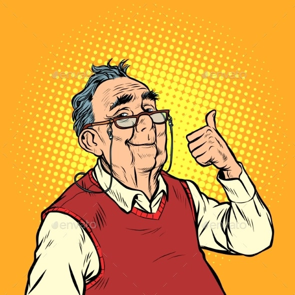 Joyful Elderly Man with Glasses Thumb Up Like - People Characters