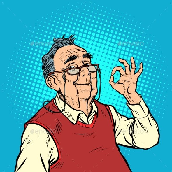 Smile Elderly Man with Glasses Okay Gesture