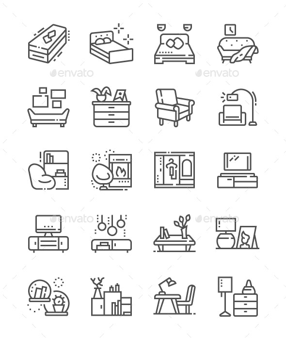 Furniture Line Icons - Objects Icons