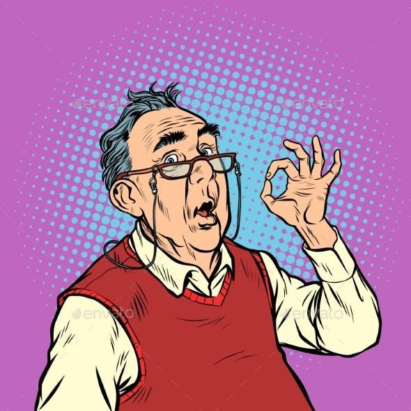 Surprise Elderly Man with Glasses Okay Gesture