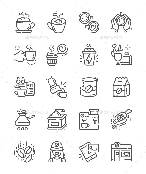 Coffee Line Icons - Food Objects