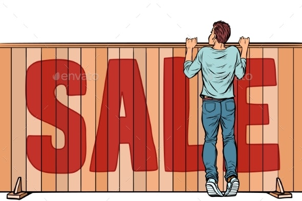 Man Looks Over the Fence Sale House Real Estate - Miscellaneous Vectors