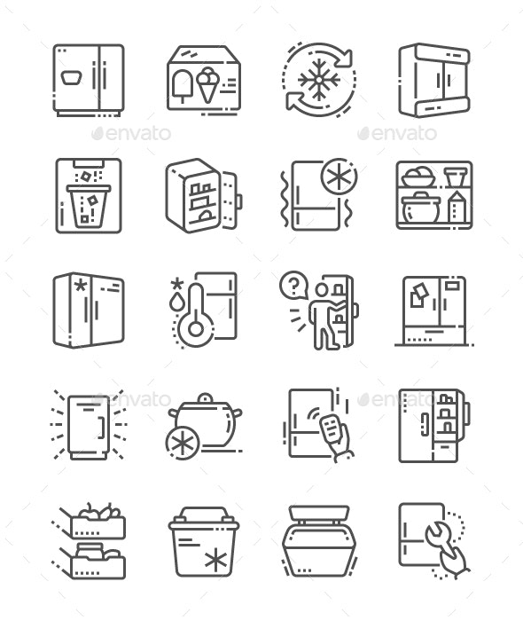 Fridge Line Icons - Technology Icons