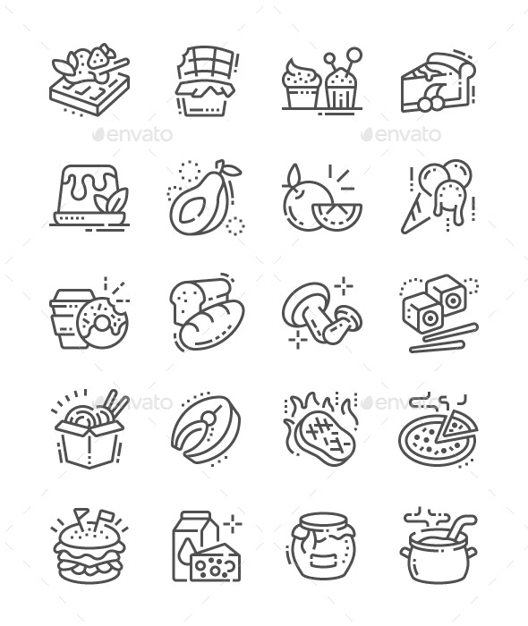 Food Line Icons - Food Objects