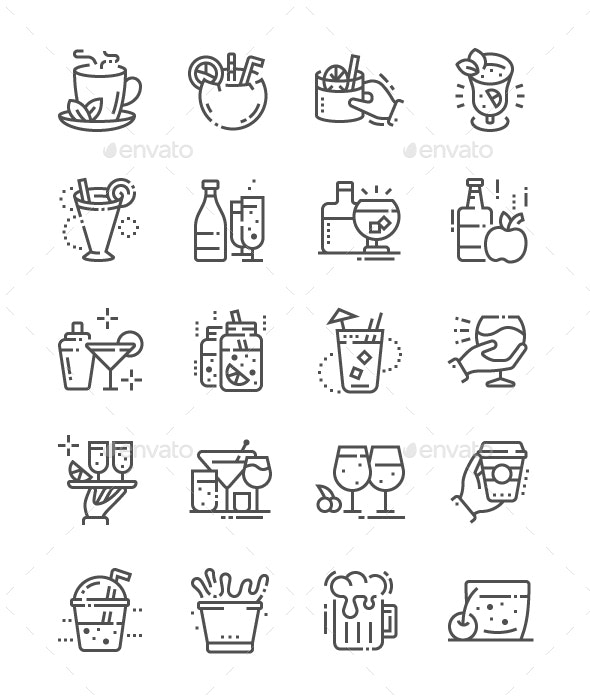Drinks Line Icons - Food Objects