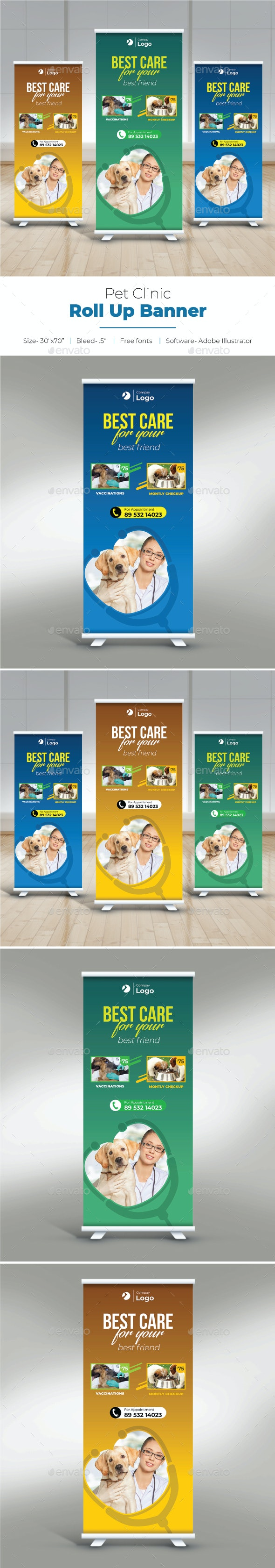 Pet Clinic Roll Up Banner - Signage Print Templates