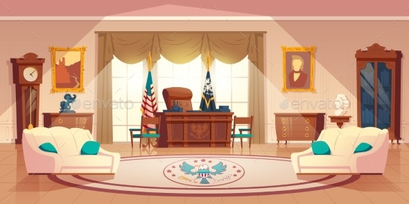Vector Oval Cabinet in the White House - Buildings Objects