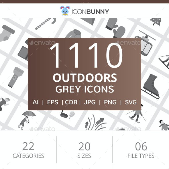 1110 Outdoors Flat Greyscale Icons