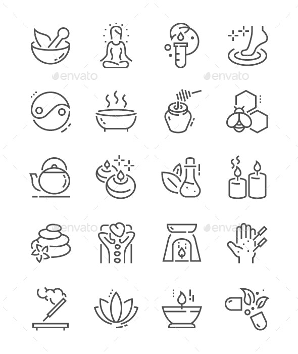 Alternative medicine Line Icons - People Characters