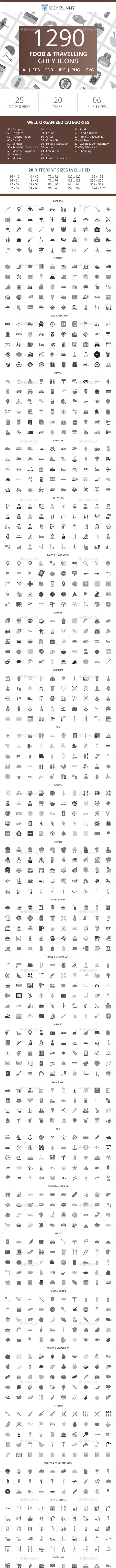 1290 Food & Travelling Flat Greyscale Icons - Icons