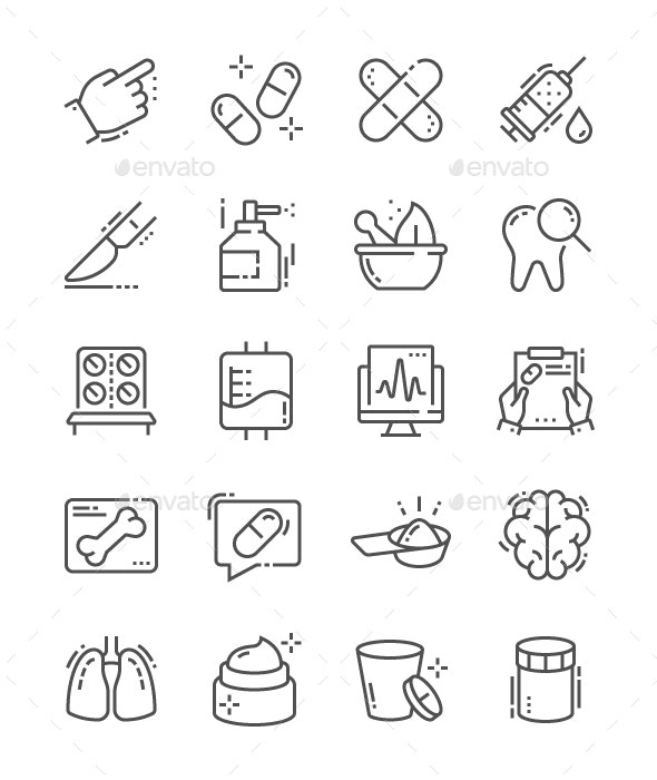 Medical Line Icons - People Characters