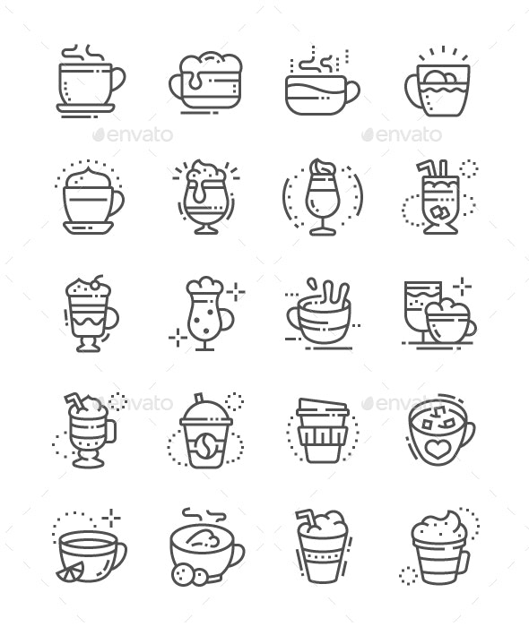 Coffee types Line Icons - Food Objects