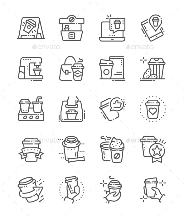 Coffee to go Line Icons - Food Objects