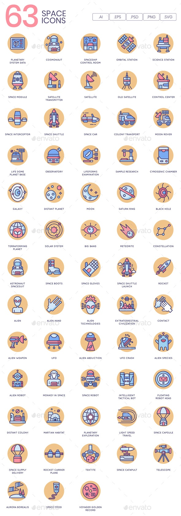 Space Icons - Butterscotch Series - Technology Icons