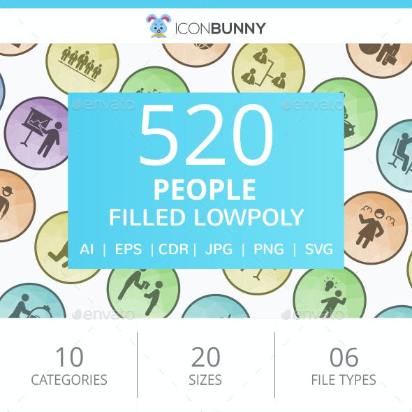 520 People Filled Low poly Icons