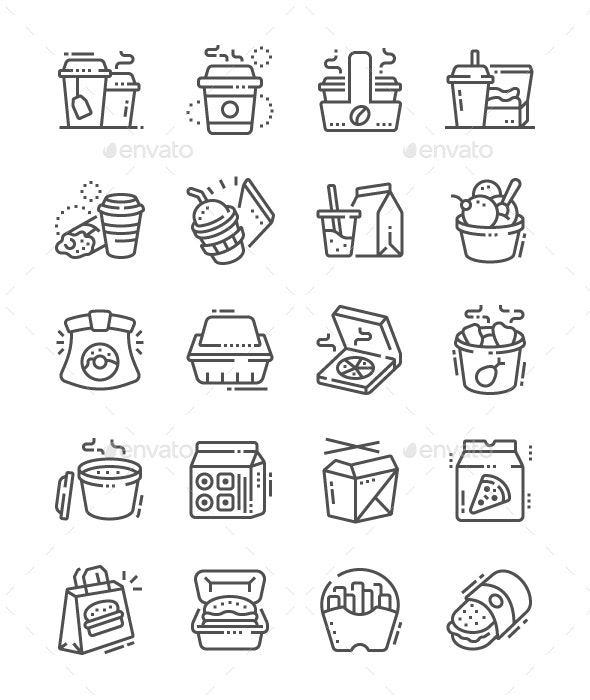 Takeaway Line Icons - Food Objects