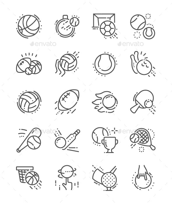Sport Balls Line Icons - People Characters