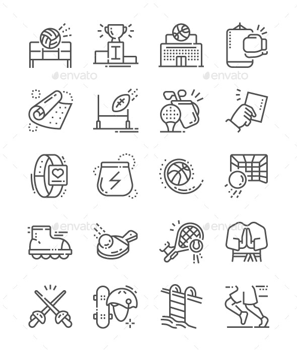 Sport Line Icons - People Characters