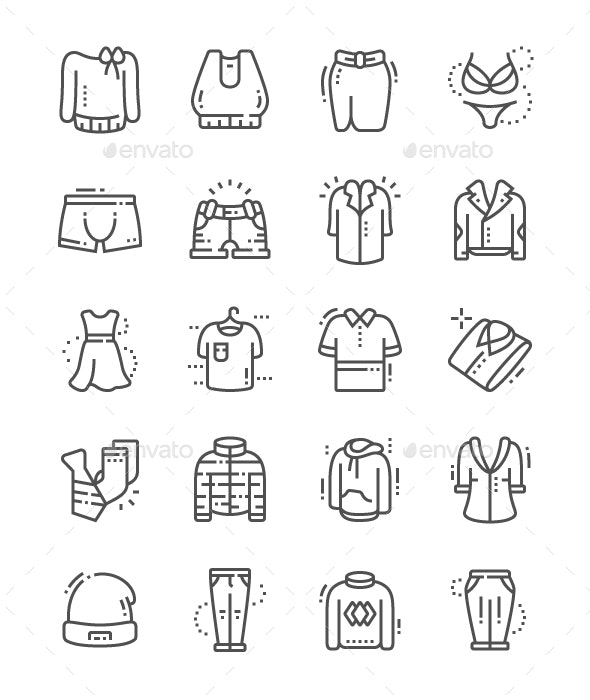 Clothes Line Icons - People Characters