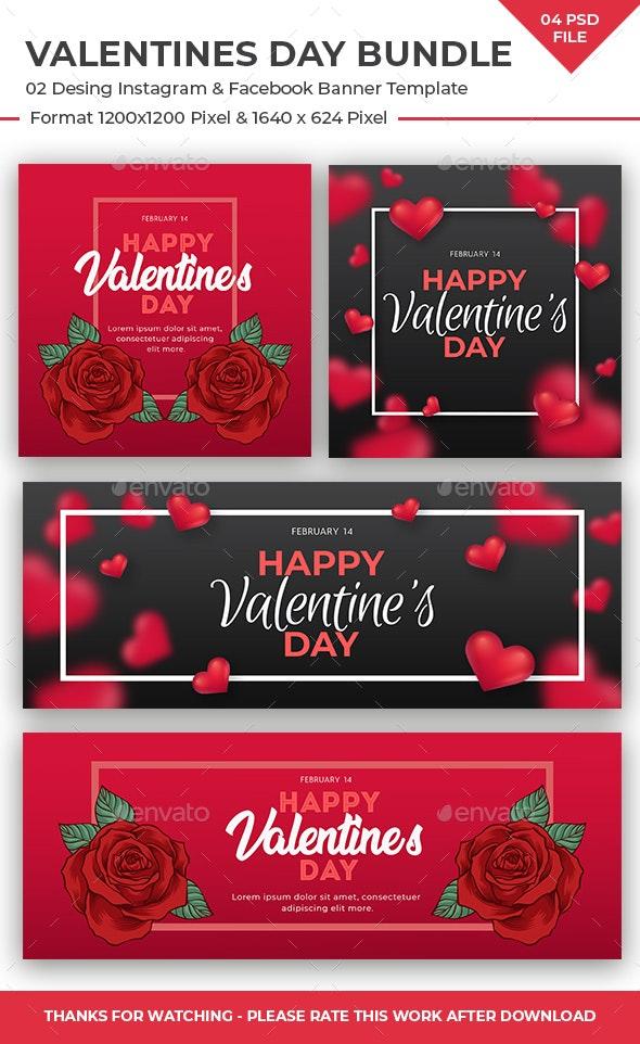 Valentines Day Instagram and Facebook Banner Bundle - Social Media Web Elements