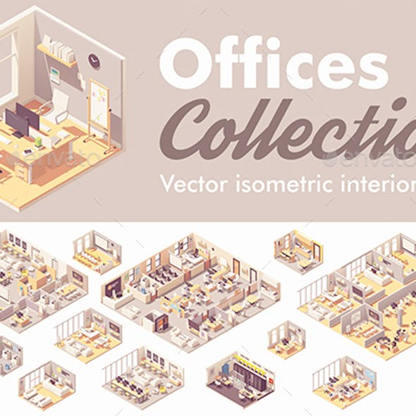 Vector Isometric Office Interiors