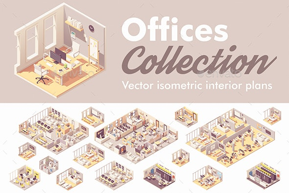Vector Isometric Office Interiors - Man-made Objects Objects