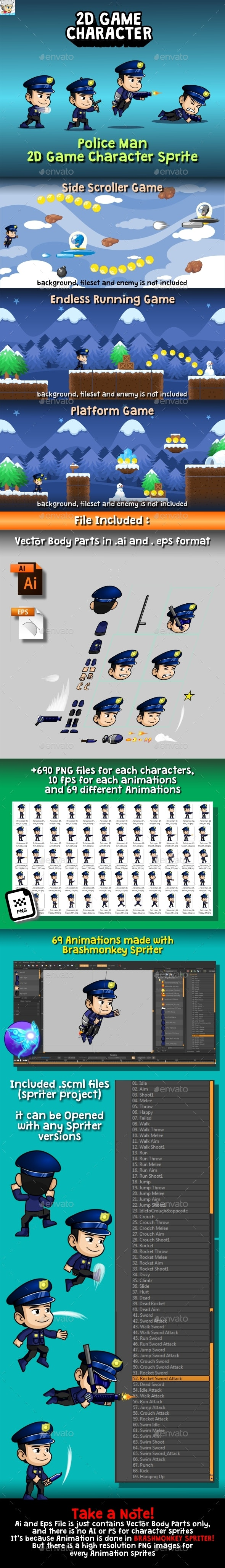 Police Man 2D Game Character Sprite - Sprites Game Assets