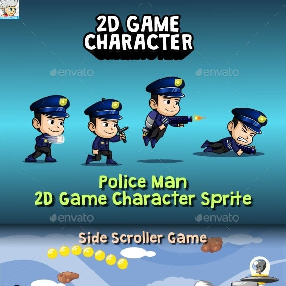 Police Man 2D Game Character Sprite